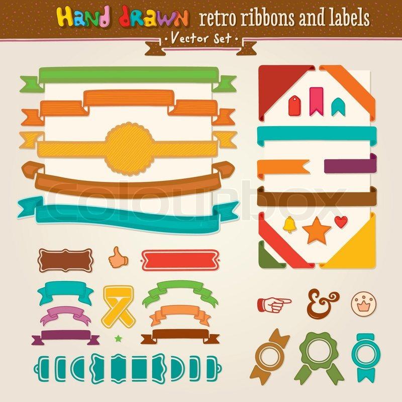 Vektor Hand zeichnen Set Retro Bänder und Etiketten | Vektorgrafik ...