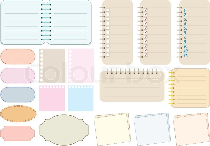 Scrapbook Elements Paper And Notebooks  Stock Vector  Colourbox