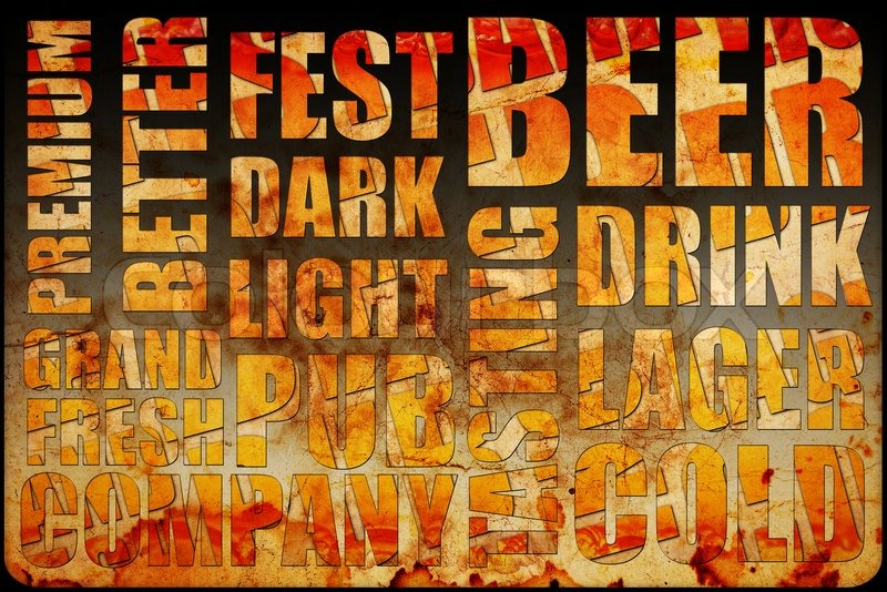 Beer background text, stock photo
