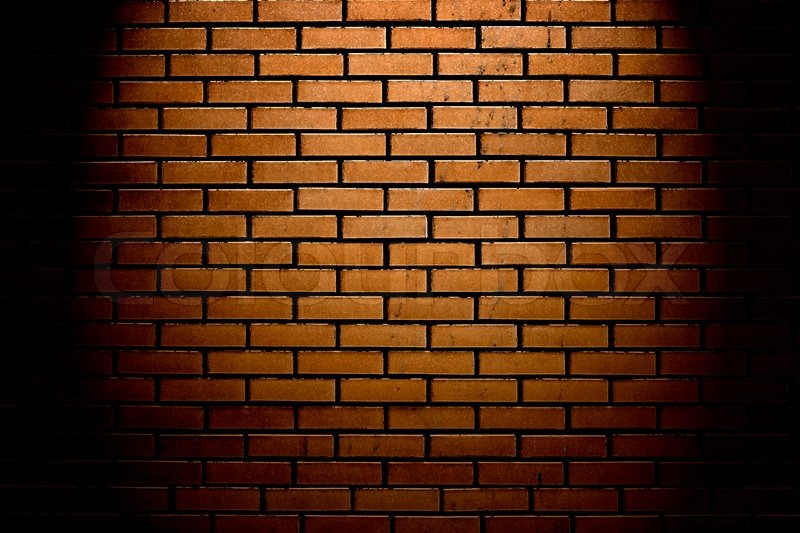 Wall Lights On Brick : Brick wall with up spotlight Stock Photo Colourbox