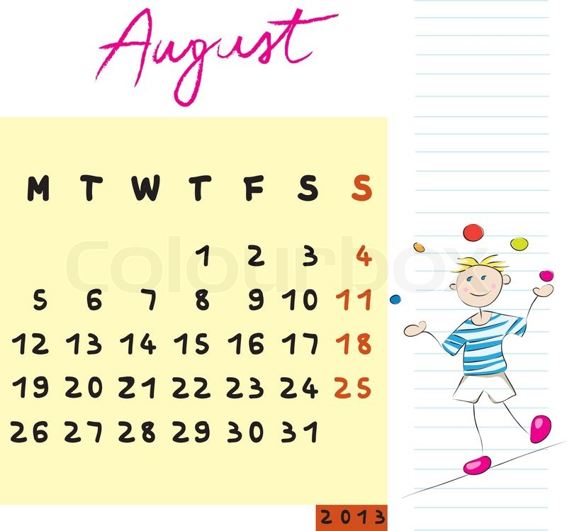 August 2013 Stock vector of 'august 2013