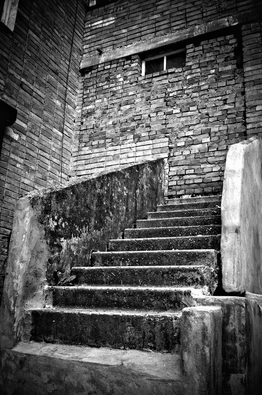 Black Brick Wall the strange staircase leading into brick wall black and white