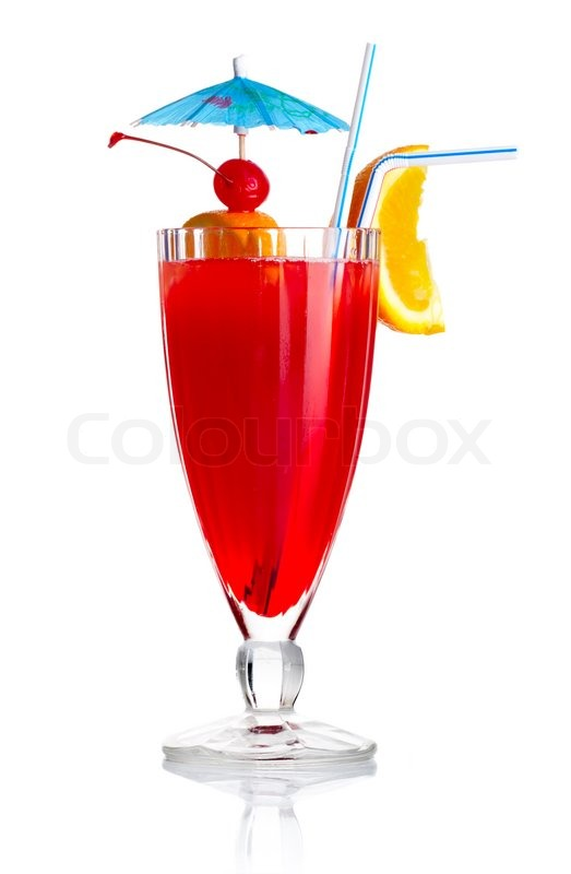 Red Alcohol Cocktail With Orange Slice And Umbrella