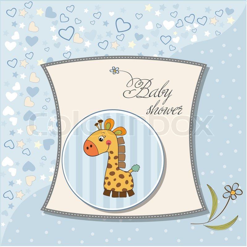 New baby boy announcement card with giraffe Vector – New Baby Boy Announcement