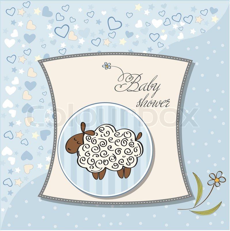 Baby Shower Wiki: Cute Baby Boy Shower Card With Sheep