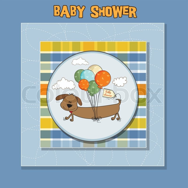 baby shower card with long dog and balloons stock vector colourbox