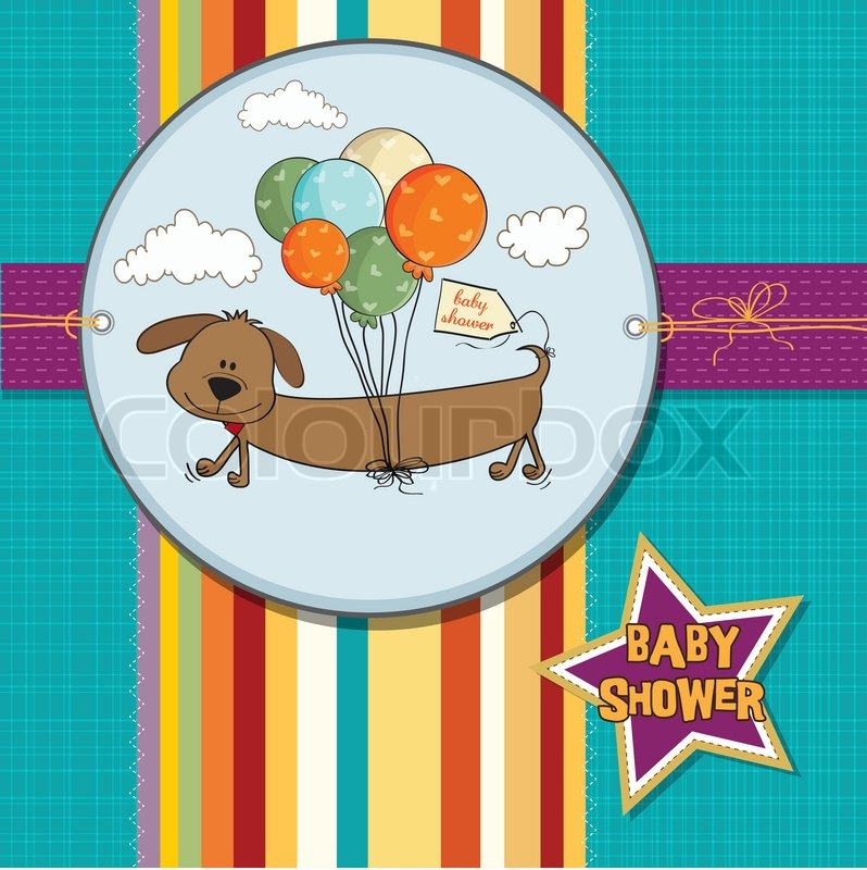 baby shower card with long dog and balloons vector colourbox