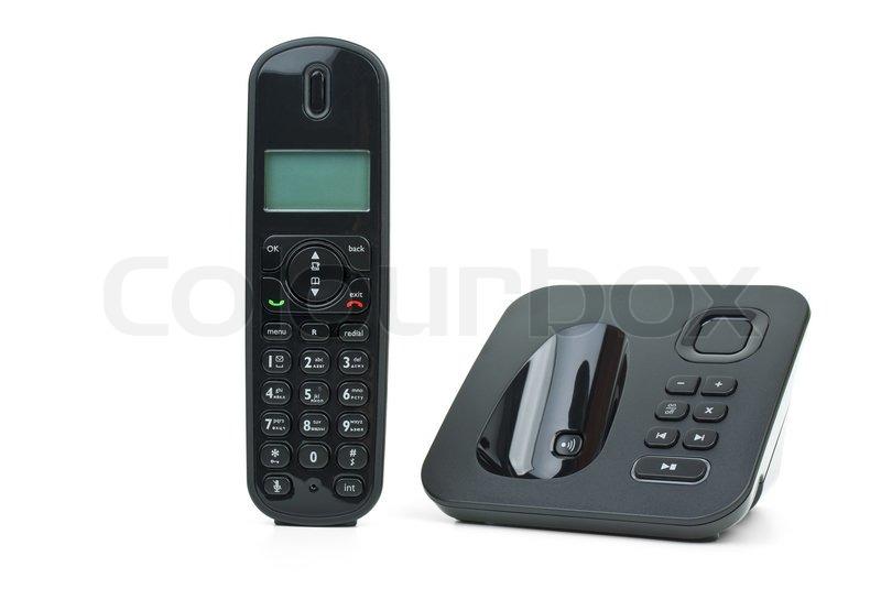 Black cordless phone handset and base unit | Stock Photo | Colourbox