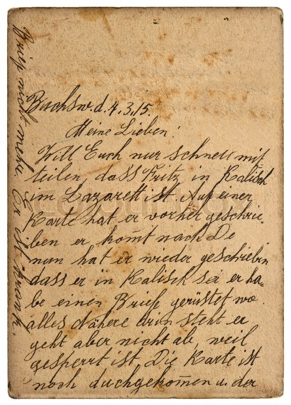 Old Personal Handwritten Letter From 1915 Stock Photo