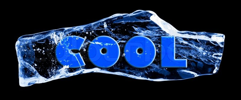 word cool frozen in the ice stock photo colourbox