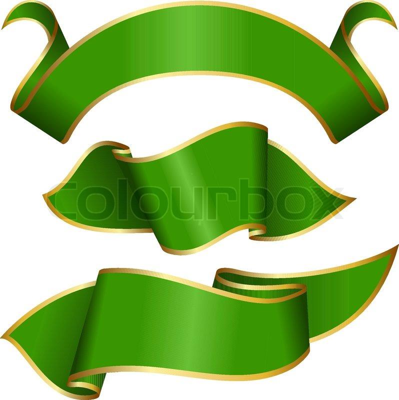 Green ribbon collection | Stock Vector | Colourbox