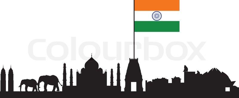 India Skyline And Flag Stock Vector Colourbox