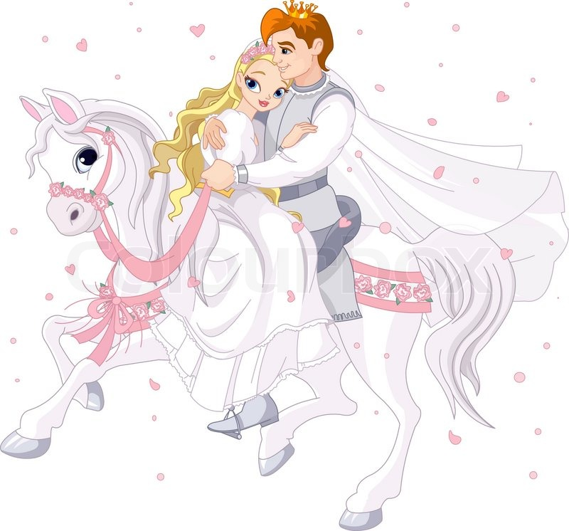 Stock vector of 'Romantic couple on white horse'
