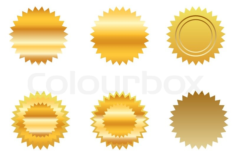 Gold sticker set, vector