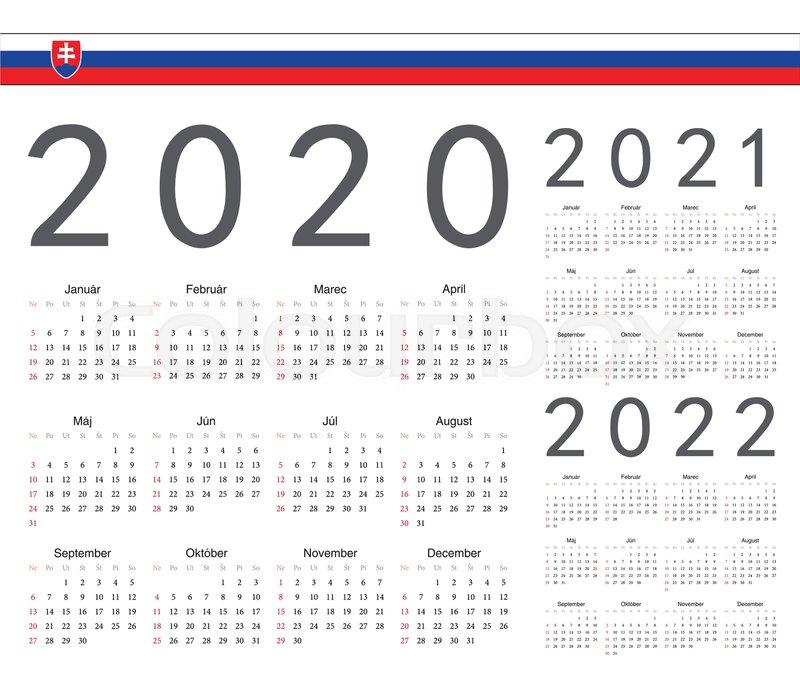 Ut Calendar Fall 2022.Set Of Slovak 2020 2021 2022 Year Stock Vector Colourbox