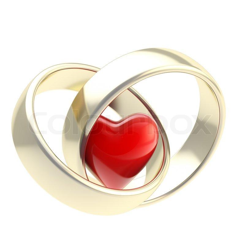 Herz In Goldenen Hochzeit Ringe Stockfoto Colourbox