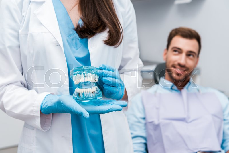 Cropped view of dentist holding teeth ...