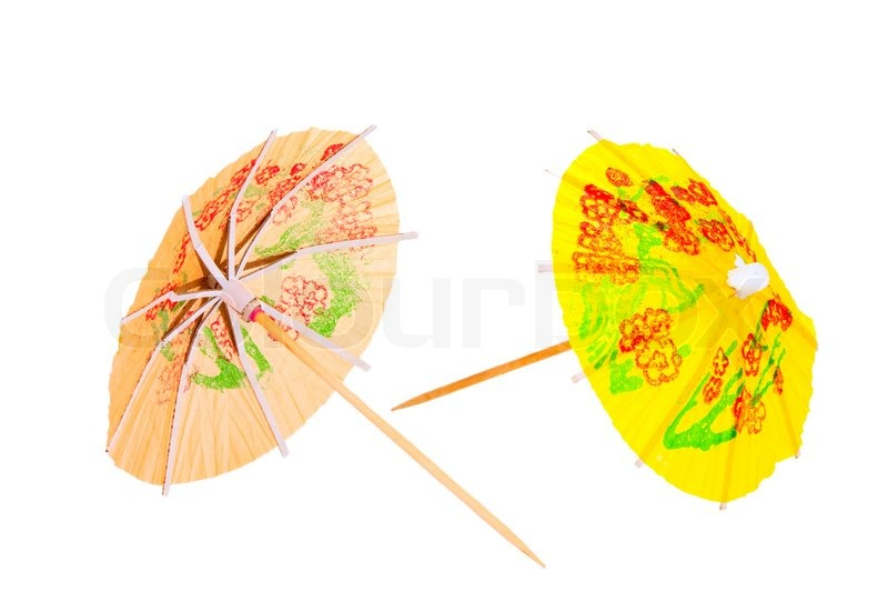 Stock image of cocktail umbrellas isolated