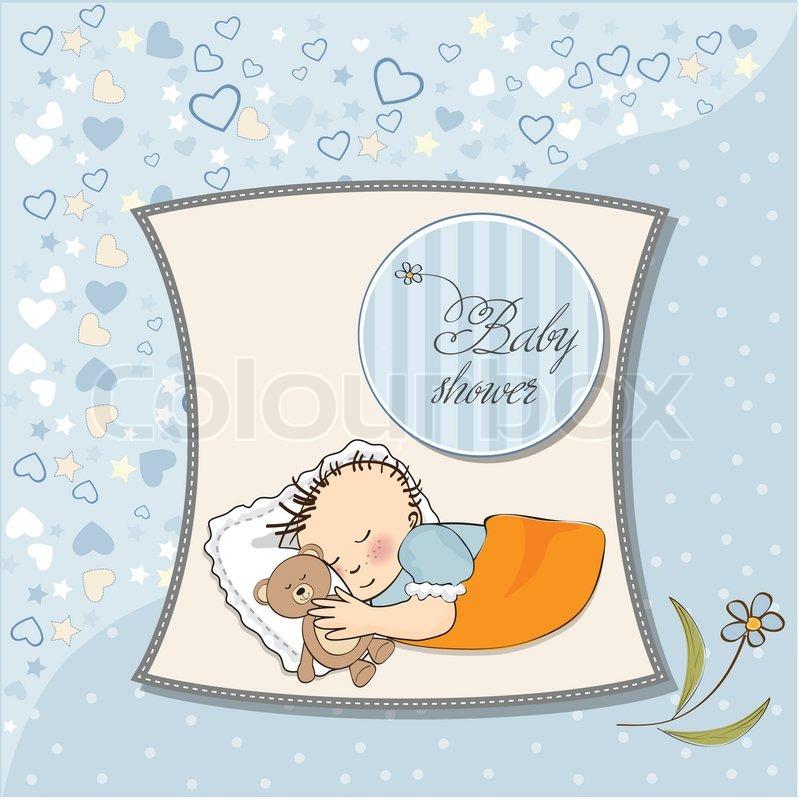 Baby Shower Wiki: Little Baby Boy Sleep With His Teddy ...
