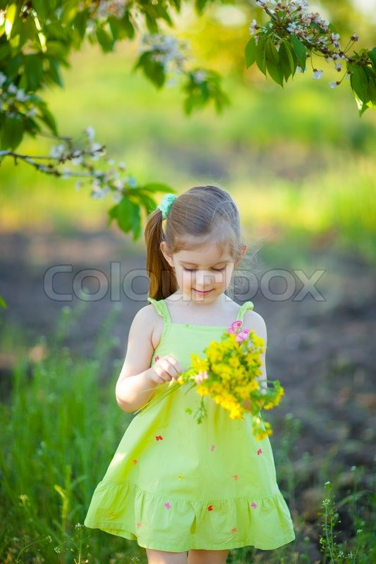 Cute little girl with field flowers stock photo colourbox - Pics of small little girls ...