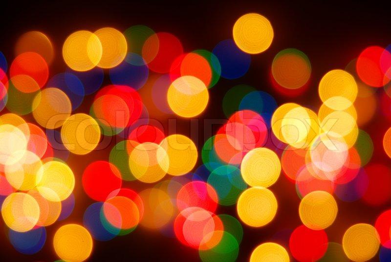 Christmas Lights on Abstract Christmas Lights As Background On Black Stock Photo