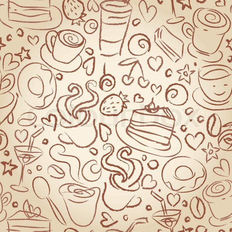 Coffee Time Seamless Background For Stock Vector