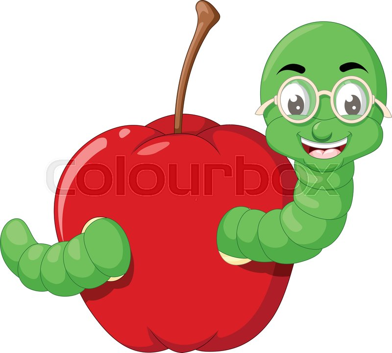 Funny Green Worm In Red Apple Cartoon Stock Vector Colourbox