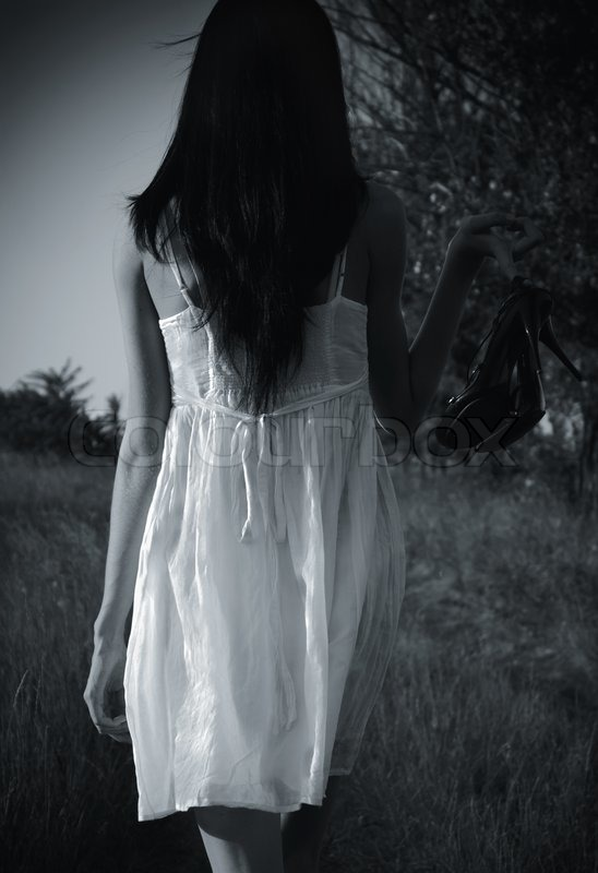 The Strange Mysterious Girl In White Dress With Shoes In