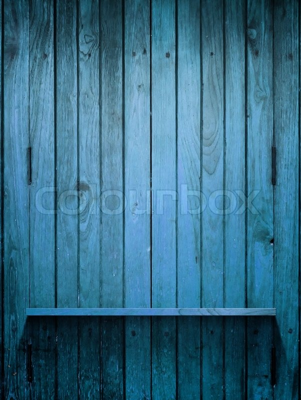 Wood Blue Shelf On Wall With Light Stock Photo Colourbox