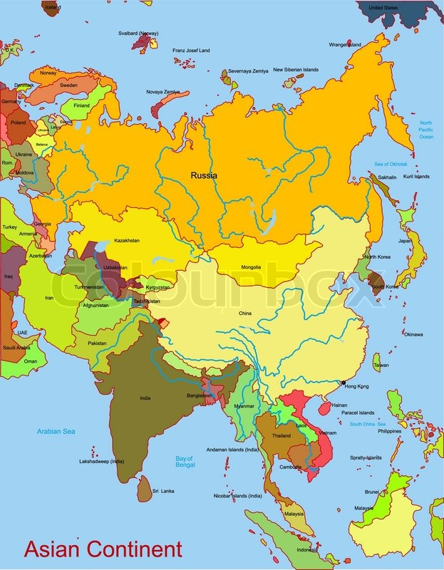 Map of asian continent Vector – Map of Asian Continent