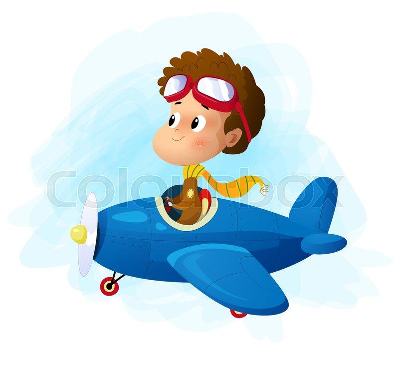 Cute Cartoon Boy Flying Plane Vector Stock Vector Colourbox
