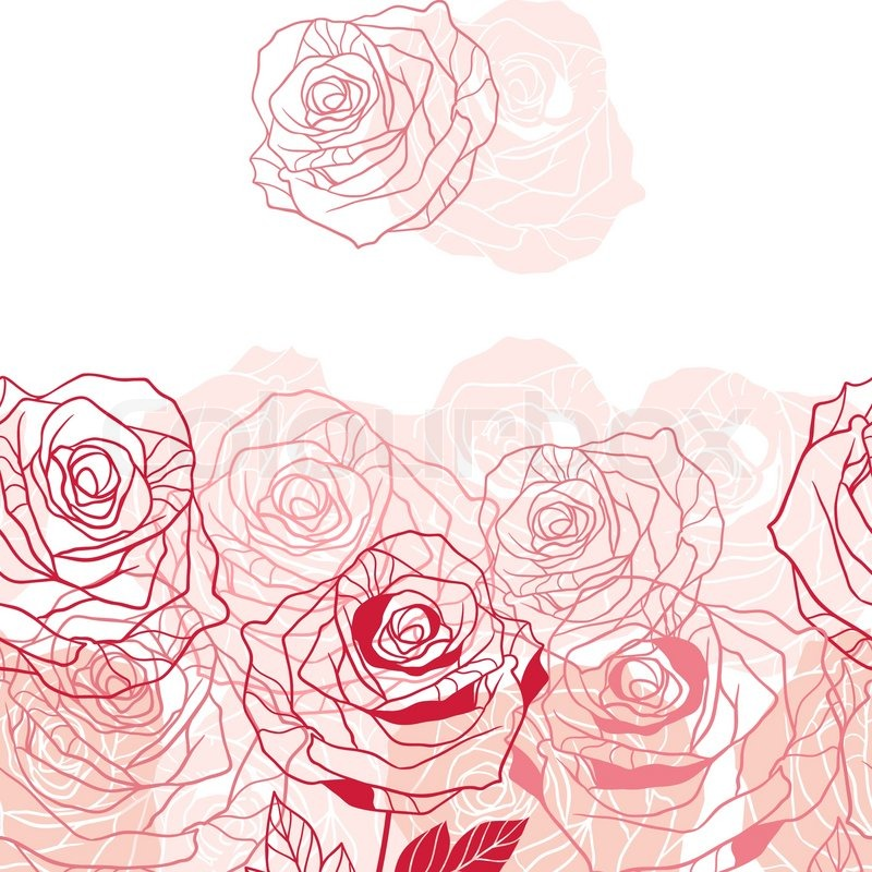 Beautiful red rose garden - Floral Background With Pink Roses Vector Illustration