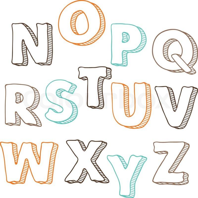 Vector Letters Set N Z