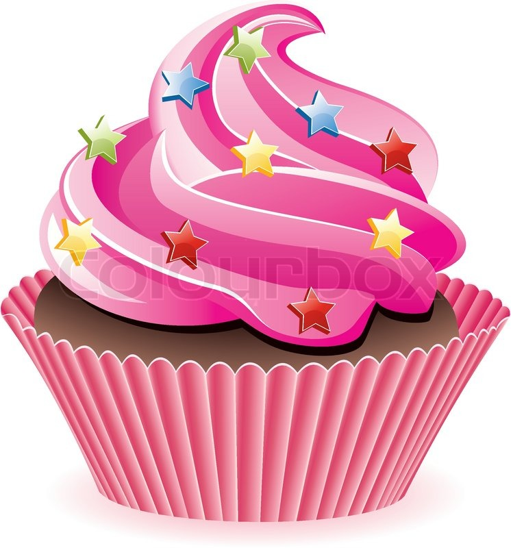 Vector Pink Cupcake With Sprinkles Stock Vector Colourbox