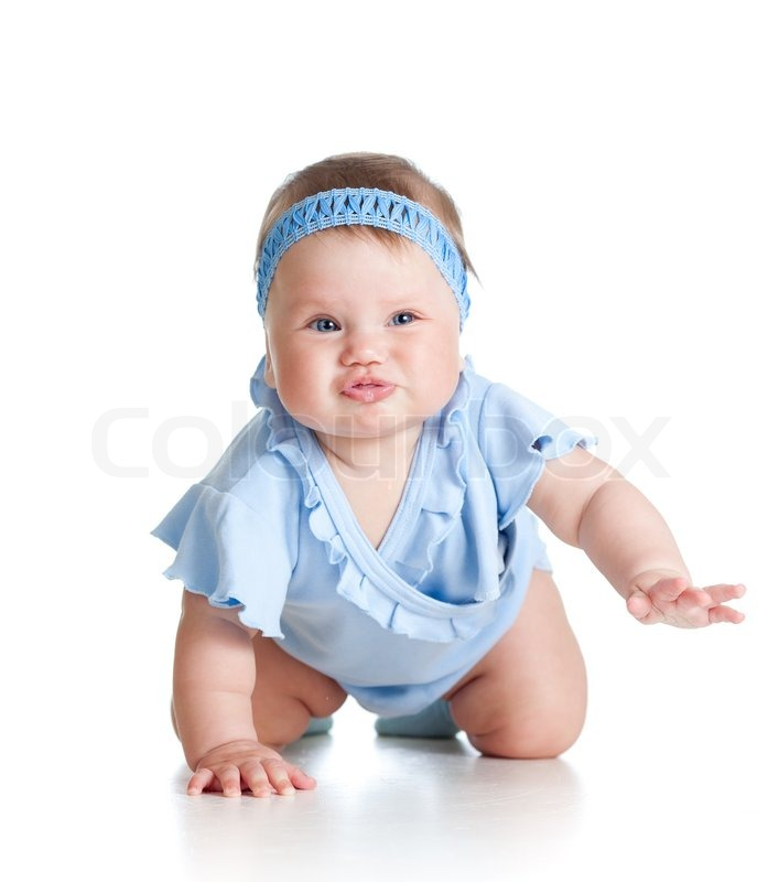 pretty baby girl crawling on floor stock photo colourbox