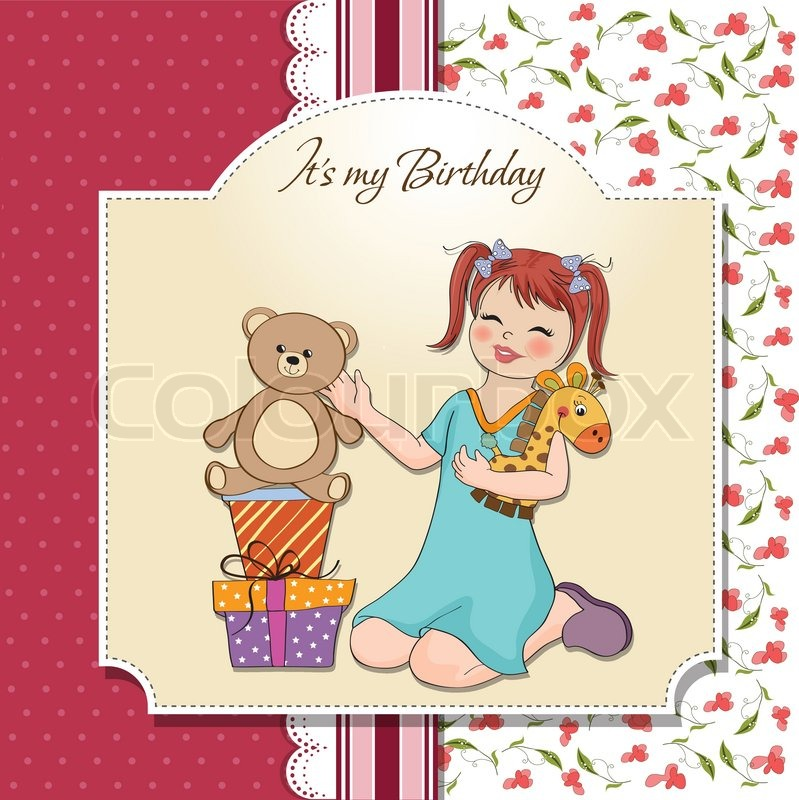 Little Girl Playing With Her Birthday Gifts Happy Birthday Card
