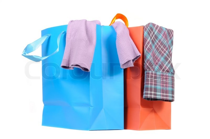 Shopping Bags with Clothes Isolated on White Background | Stock ...