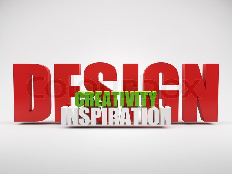 render of words design creativity inspiration | stock photo, Powerpoint templates