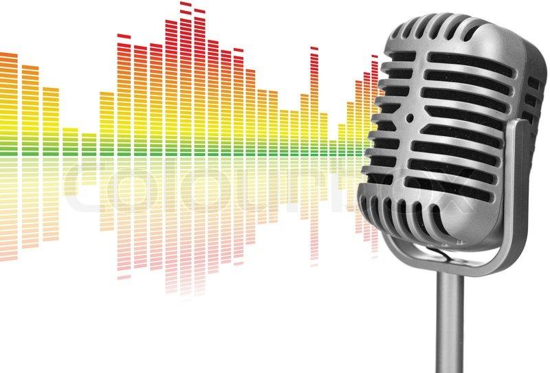 retro microphone with audio wave stock photo colourbox