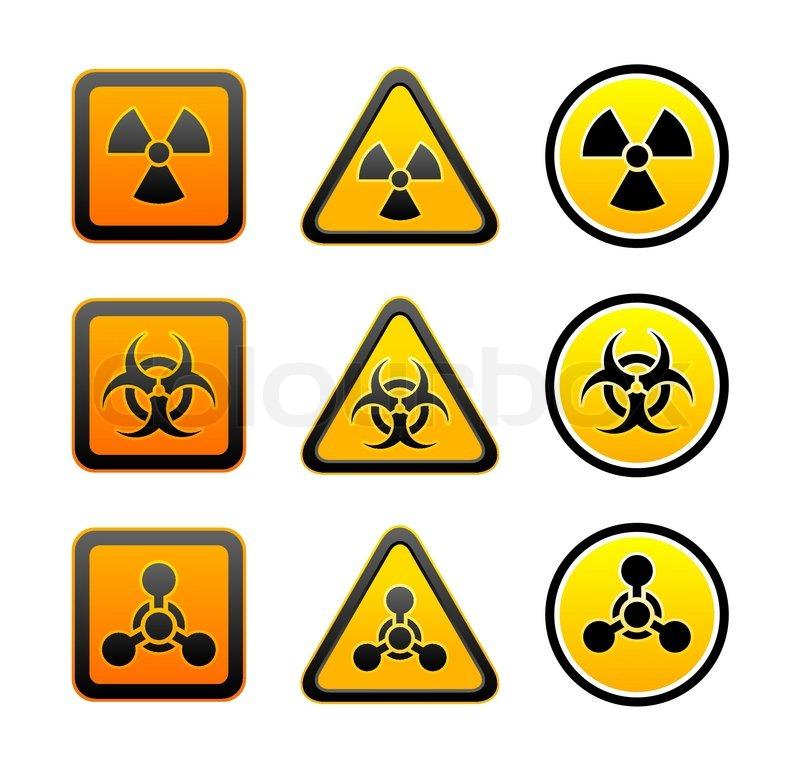 Set Hazard Warning Radiation Symbols Stock Vector Colourbox