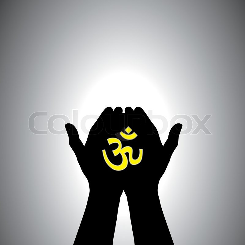 Person Praying With Sacred Hindu Symbol In Hand Stock Vector