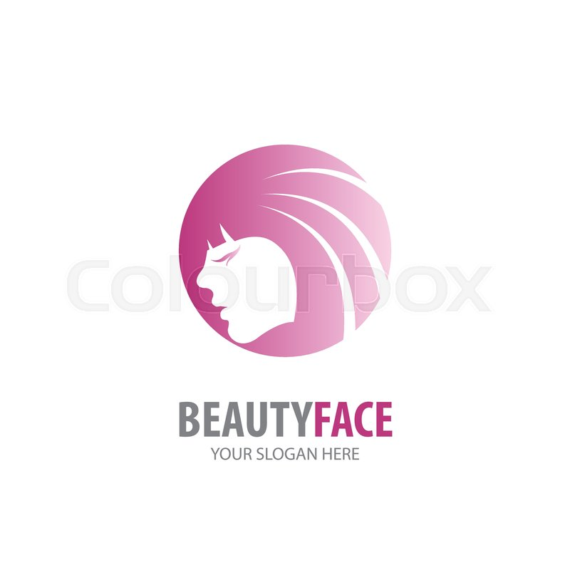 Beauty Face Logo For Business Company Stock Vector Colourbox