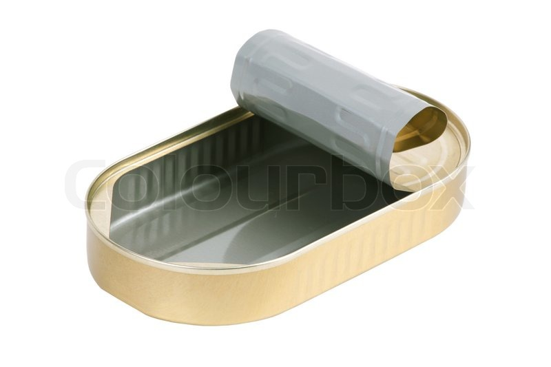 Empty tin can of sardines out stock photo colourbox for Empty sardine cans