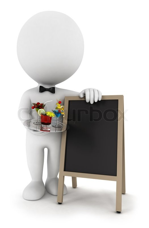 3d white people waiter with cocktail and a blank