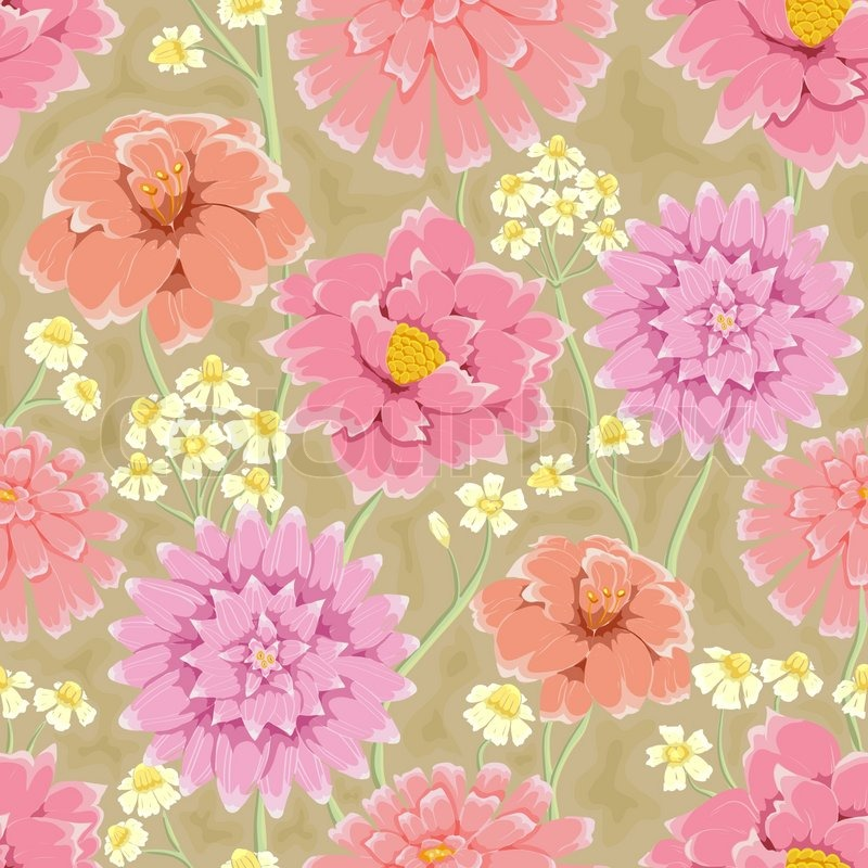 Floral Seamless Pattern Hand Drawn Flowers Bright Colors Perfect For