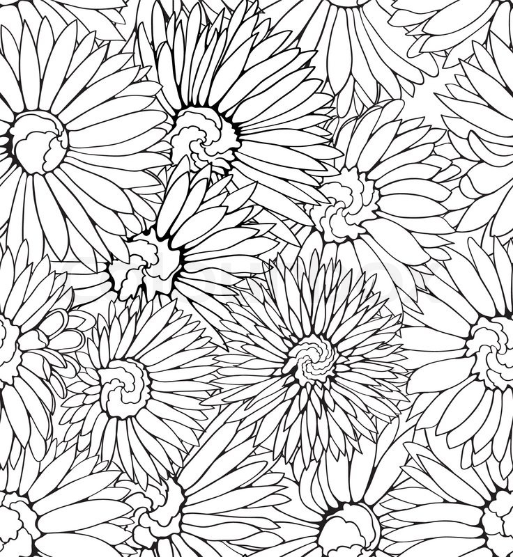 Line Art Flower Pattern : Black and white floral seamless pattern with hand drawn