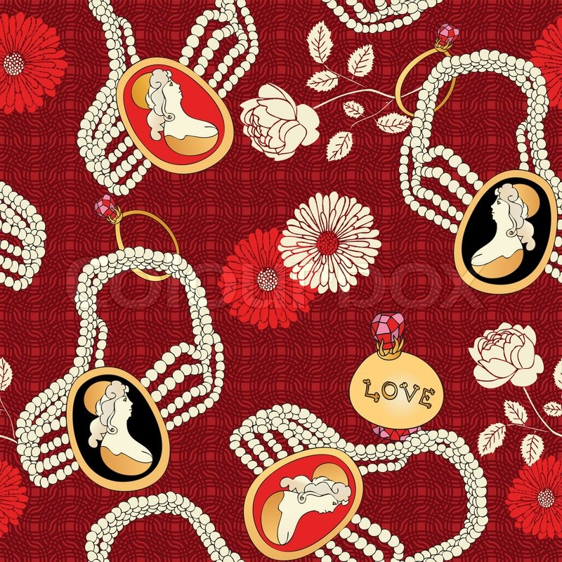Abstract background with antique cameo fashion seamless for Retro fabric