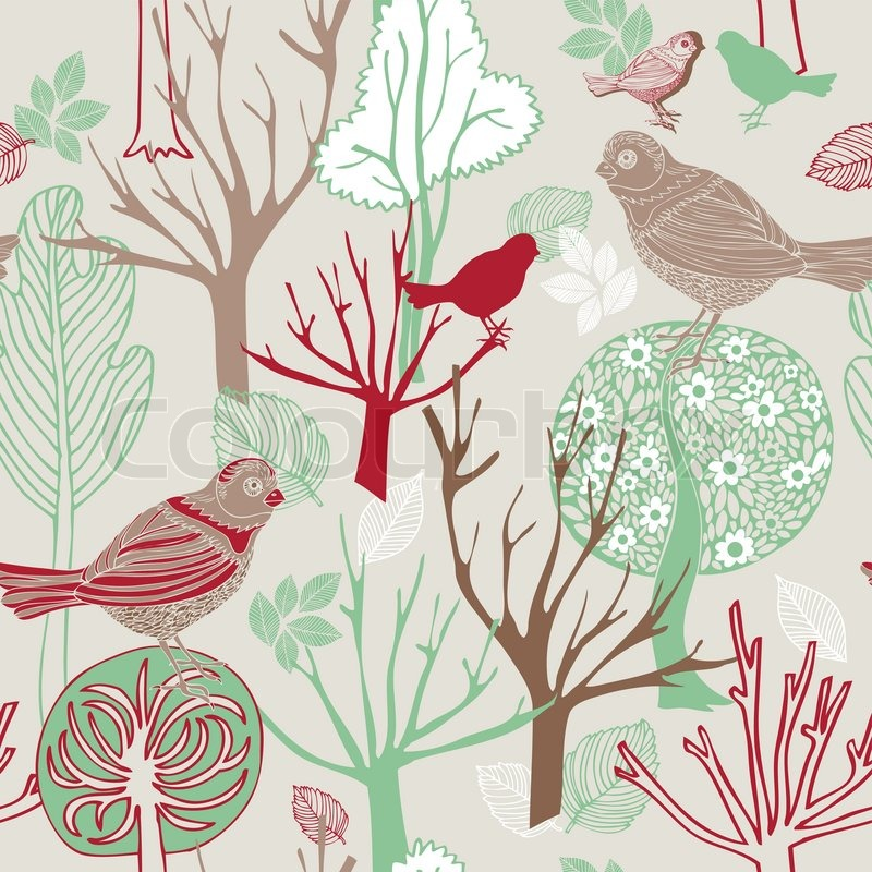 Abstract Birds Background Fashion Seamless Pattern Retro Vector Wallpaper Vintage Fabric Creative Pastel Wrapping With Graphic And Trees Ornaments