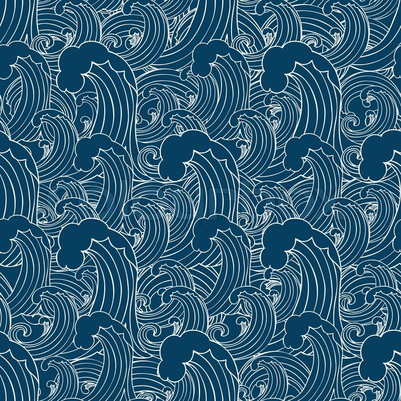 abstract sea background wave theme fashion seamless pattern