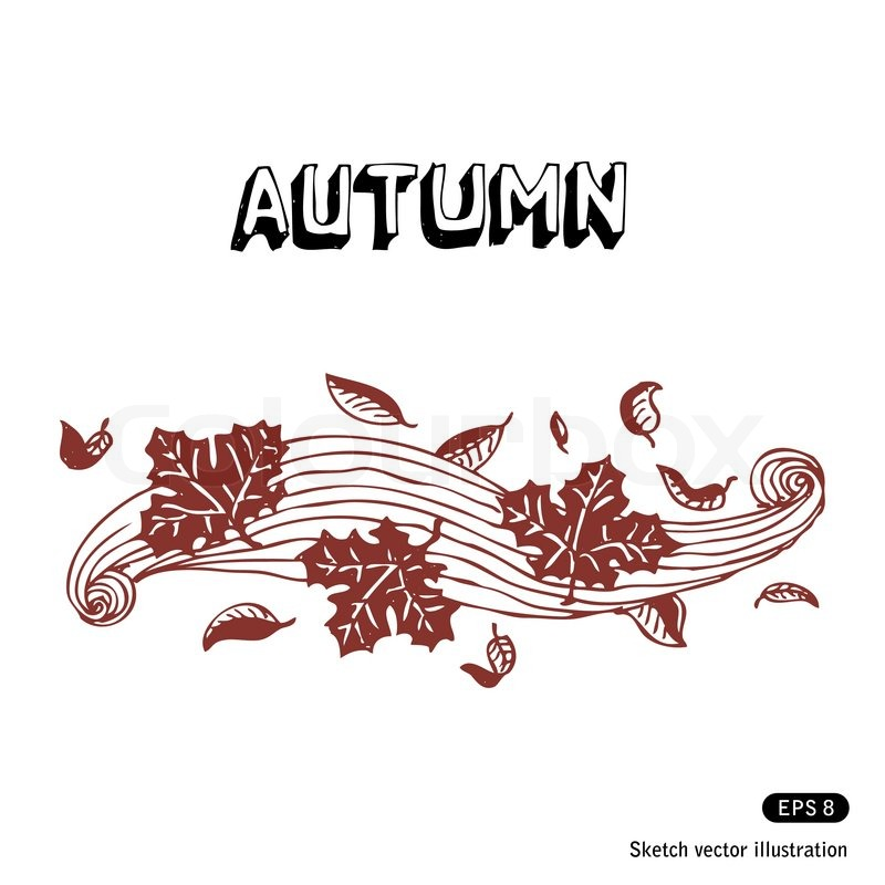 Leaves in Wind Drawing Autumn Leaves And Wind Vector